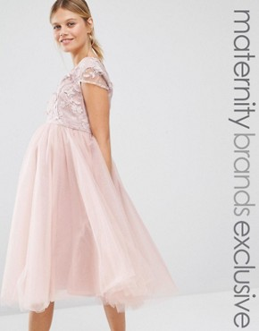 photo Applique Bodice Dress with Tulle Skirt by Chi Chi London Maternity, color Pink - Image 1