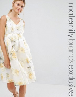 photo Floral Organza Prom Dress by Chi Chi London Maternity, color  - Image 1