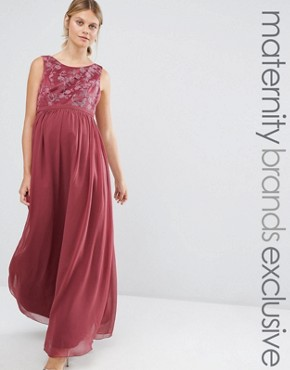 photo Embroidered Bodice Maxi Dress by Chi Chi London Maternity, color Pink - Image 1
