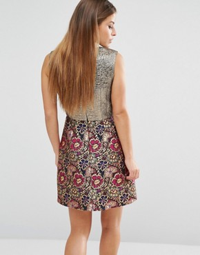 photo A-line Mini Dress in Mixed Floral Metallic Jacquard by ASOS PETITE, color  - Image 2
