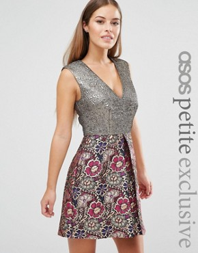 photo A-line Mini Dress in Mixed Floral Metallic Jacquard by ASOS PETITE, color  - Image 1