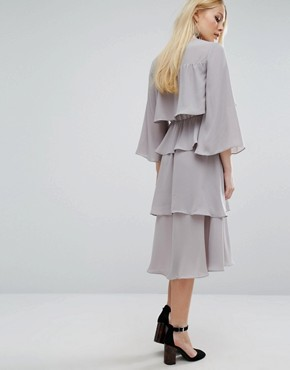 photo Layered Midi Dress by Lost Ink, color Grey - Image 2