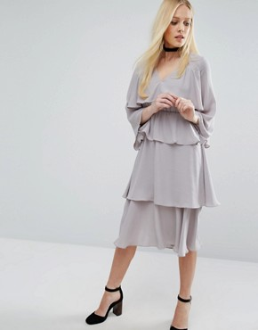 photo Layered Midi Dress by Lost Ink, color Grey - Image 1