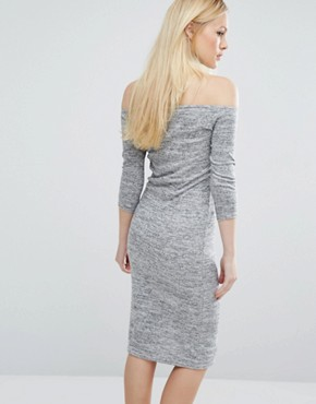 photo Twist Long Sleeve Halter Detail Dress by Lost Ink, color Grey - Image 2
