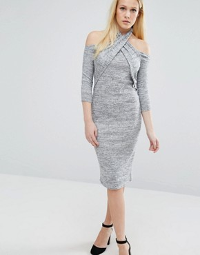 photo Twist Long Sleeve Halter Detail Dress by Lost Ink, color Grey - Image 1
