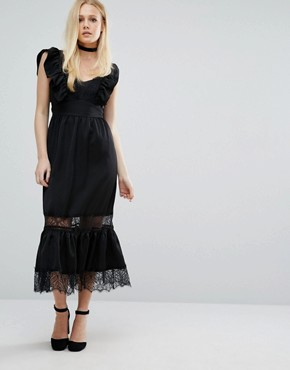 photo Deep V Dress In Satin and Lace by Lost Ink, color Black - Image 2