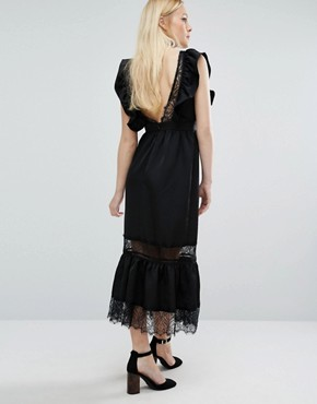 photo Deep V Dress In Satin and Lace by Lost Ink, color Black - Image 1