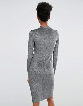 photo Lisa Long Sleeve Bodycon Dress In All Over Metallic Fabric by Y.A.S Tall, color Silver - Image 2