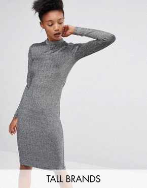 photo Lisa Long Sleeve Bodycon Dress In All Over Metallic Fabric by Y.A.S Tall, color Silver - Image 1