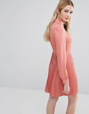 photo Diana Pleated Skater Dress with Bow Tie by Fashion Union Tall, color Pink - Image 2