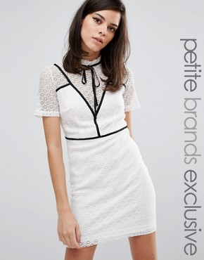 photo Gerrard Contrast Panel Pencil Dress with Tie by Fashion Union Petite, color White - Image 1
