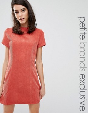 photo Kent Textured High Neck Pencil Dress by Fashion Union Petite, color Rust - Image 1