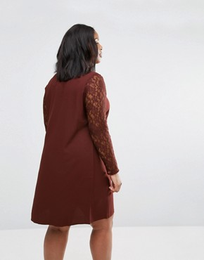 photo Clarissa Dress with Lace Sleeves by Junarose Plus, color Decadent Chocolate - Image 2