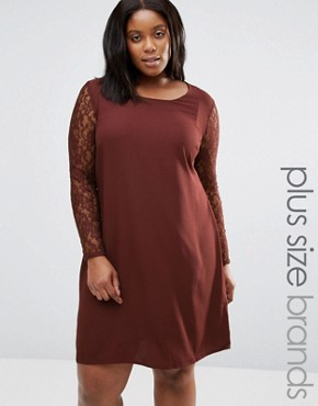 photo Clarissa Dress with Lace Sleeves by Junarose Plus, color Decadent Chocolate - Image 1