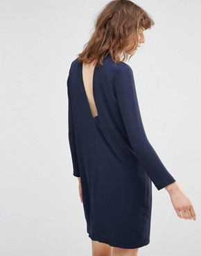 photo Theta T Neck Long Sleeve Navy Mini Dress by Samsoe & Samsoe, color Dark Sapphire - Image 2