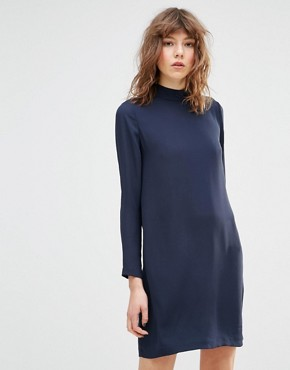 photo Theta T Neck Long Sleeve Navy Mini Dress by Samsoe & Samsoe, color Dark Sapphire - Image 1