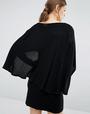 photo All That Fame Dress with Cape Detail by Asilio, color Black - Image 2