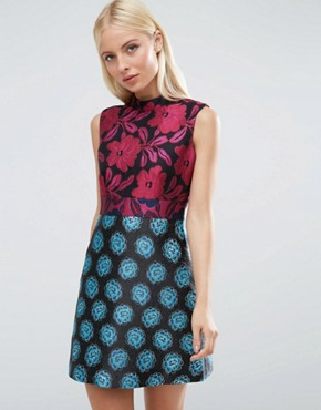 photo High Neck Sleeveless Mix & Match Jacquard Dress by ASOS, color  - Image 1
