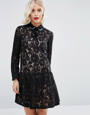 photo Smock Dress with Embellished Collar in Lace by ASOS PREMIUM, color Black - Image 1