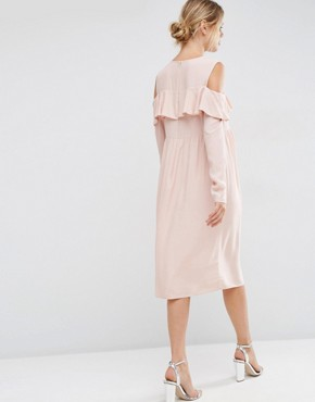 photo Ruffle Front Cold Shoulder Dress by ASOS Maternity, color Nude - Image 2