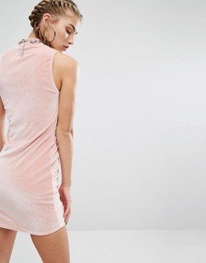 photo High Neck Ruched Bodycon Dress In Velvet Co-Ord by Jaded London, color Dusty Pink - Image 2