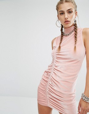 photo High Neck Ruched Bodycon Dress In Velvet Co-Ord by Jaded London, color Dusty Pink - Image 1