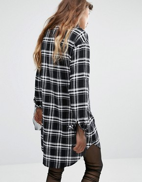 photo Shirt Dress In Check by Seint, color Black - Image 2