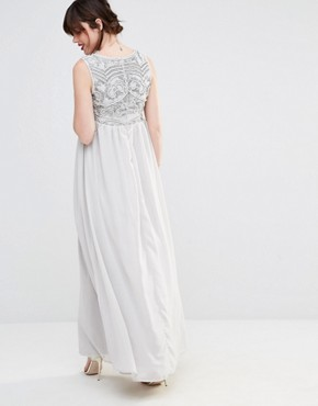 photo Embellished Bodice Plunge Maxi Dress by Maya Maternity, color Grey - Image 2