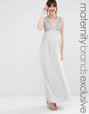 photo Embellished Bodice Plunge Maxi Dress by Maya Maternity, color Grey - Image 1