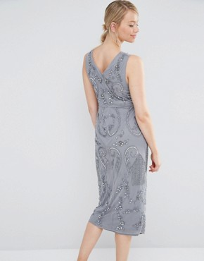 photo All Over Embellished Midi Dress with Wrap Detail Skirt by Maya Maternity, color Grey - Image 2