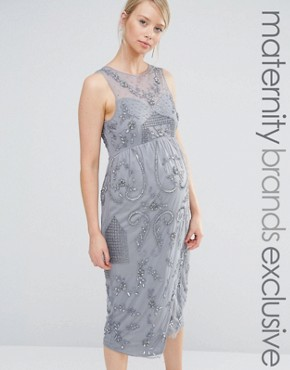 photo All Over Embellished Midi Dress with Wrap Detail Skirt by Maya Maternity, color Grey - Image 1