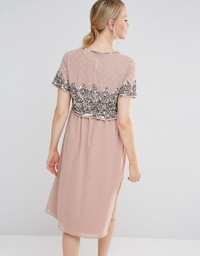 photo Double Layer Embellished Bodice Midi Dress by Maya Maternity, color Pink - Image 2