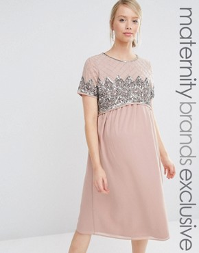 photo Double Layer Embellished Bodice Midi Dress by Maya Maternity, color Pink - Image 1