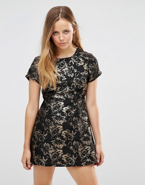 photo Cheeky Dress In Flower Jacquard by Motel, color Bronze - Image 1