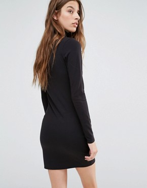 photo Roll Neck Dress with Leather Look Panel Detail by G-Star, color Black - Image 2