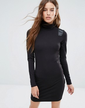 photo Roll Neck Dress with Leather Look Panel Detail by G-Star, color Black - Image 1