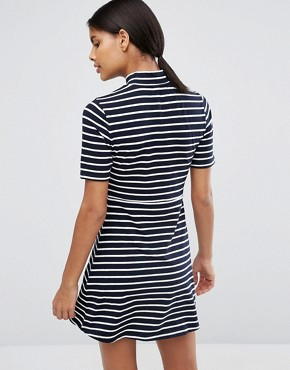 photo High Neck Skater Dress In Stripe by Love & Lies, color Navy/White - Image 2