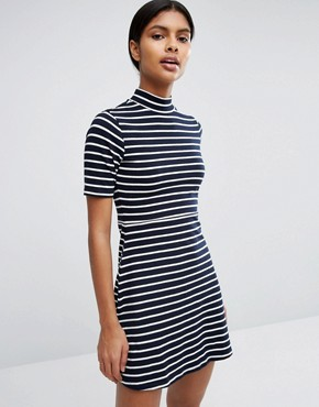 photo High Neck Skater Dress In Stripe by Love & Lies, color Navy/White - Image 1