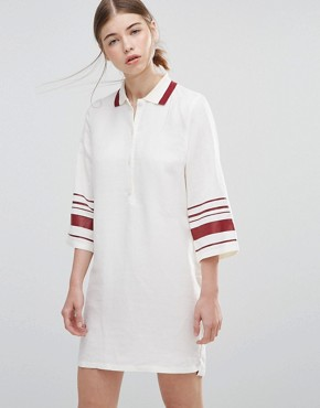 photo Caitlin Dress with Striped Sleeves by Wood Wood, color White - Image 1