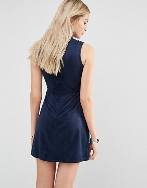 photo Faux Suede High Neck Shift Dress by Love & Other Things, color Blue - Image 2