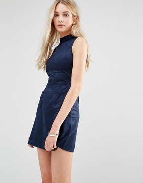photo Faux Suede High Neck Shift Dress by Love & Other Things, color Blue - Image 1