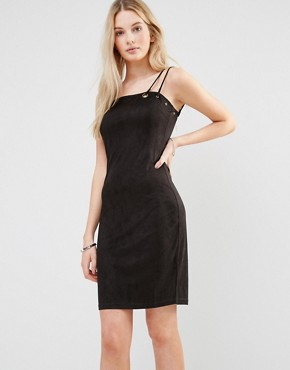 photo Pencil Dress With Double Strap by Love & Other Things, color Black - Image 1