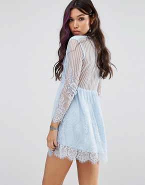photo Wrap Front Skater Dress In Delicate Lace by Motel, color Blue Lace - Image 2