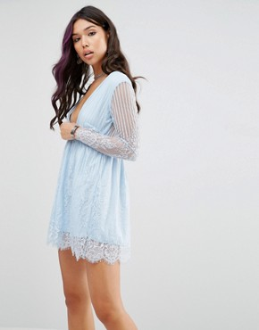 photo Wrap Front Skater Dress In Delicate Lace by Motel, color Blue Lace - Image 1