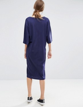 photo Midi T-Shirt Dress with Kimono Sleeve by ASOS, color Navy - Image 2