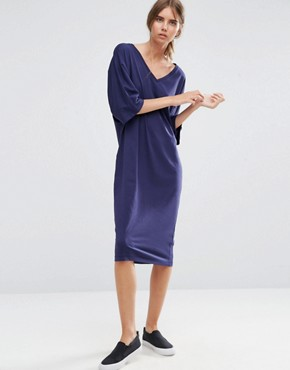 photo Midi T-Shirt Dress with Kimono Sleeve by ASOS, color Navy - Image 1