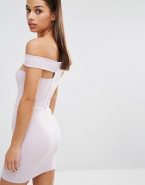 photo Cut Out Panel Bardot Bodycon Dress by Missguided Petite, color Purple - Image 2