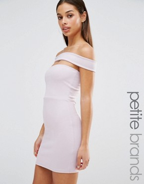 photo Cut Out Panel Bardot Bodycon Dress by Missguided Petite, color Purple - Image 1