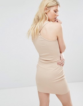 photo Ribbed Bodycon Halterneck Dress by Missguided Petite, color Camel - Image 2