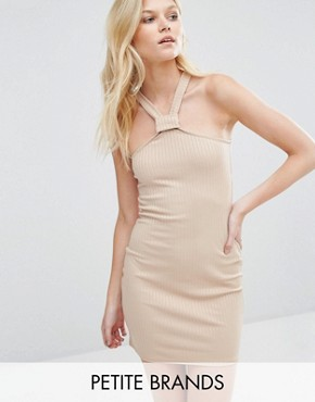 photo Ribbed Bodycon Halterneck Dress by Missguided Petite, color Camel - Image 1